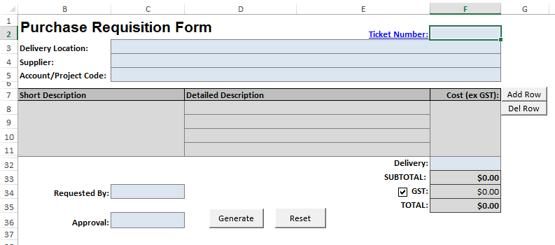 Macro Enabled Purchase Order Template Stott Asia